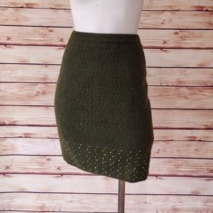 Vintage Gold Beaded Olive Sweater Pencil Skirt